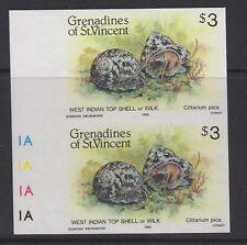GRENADINES OF ST. Vincent SG363imp 1985 $3 Shell fidh IMPERF COPPIA Gomma integra, non linguellato