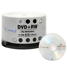 50 Pack Smartbuy Blank DVD+RW 4x 4.7GB Branded Logo Rewritable DVD Media Disc