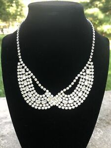 Vintage Signed WEISS Clear Rhinestone Necklace 1950's USA
