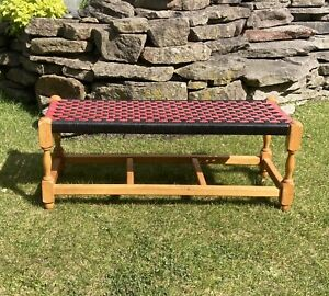 Vintage Wooden Framed Woven Long Footstool Bench Red Black Retro Kitsch Home