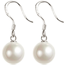 UK Womens Round Pearl 925 Sterling Silver Plated Earrings Ear Hook Drop Dangle