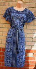 WHITE STUFF INDIAN SUMMER BLUE BAROQUE BELTED BOHEMIAN LINEN A LINE DRESS 14 L