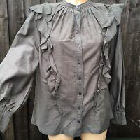 And/Or Olive Green Ruffle Frill Boho Folk Prairie Rita Blouse Shirt Size 8