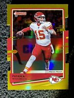 Patrick Mahomes II 2020 Donruss Press Proof Gold Die Cut SSP #d/25 Chiefs Nice!
