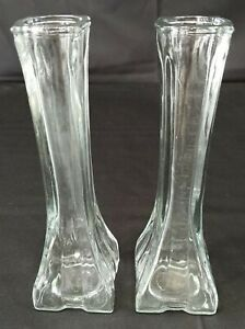 Vintage Profile Europa 1408 Clear Glass Bud Vase Square Base Pair 8-1/2 Inch
