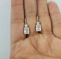14K Yellow Gold Square Diamond Dangle Leverback Earrings