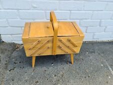 Vintage Cantilever Sewing Box with contents Needles, Sylko Reels, Fasteners etc