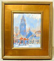 Small Contemporary Mission Oil Painting Balboa Park CA Tower Architecture Signed