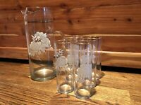 RARE MCM Highball Cocktail Barware Set - Gold And Floral Vintage Mid Century
