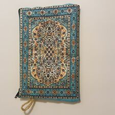 Handmade Clutch Purse Blue Pink Gold Tone Embroidered Zipper