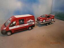 LOT 1/43 RALLYE PEUGEOT BOXER REMORQUE 307 WRC MONTE CARLO