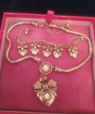 Butler & Wilson Heart & Bow Neklace Pendant & Charm Bracelet in Rose Gold Colour