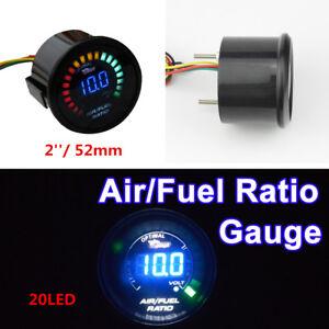 20 LEDs DIGITAL AUTO CAR SUV AIR/FUEL RATIO MONITOR RACING GAUGE ANALOG 2'' 52MM