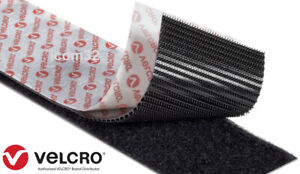 BLACK VELCRO® Brand Heavy Duty Stick On Self Adhesive Tape 5CM Wide PS51/52