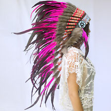 CLEARANCE PRICE! Long Native American Indian Style Headdress - Pink Rooster