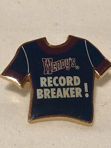Wendy's Restaurant UNIFORM Collector Employee Lapel Pins Record Breaker Blue