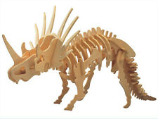 New Wood Assembly DIY Toy for 3D Wooden Model Puzzles of Dinosaur Styracosaurus
