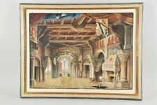 Aquarell Romanische Halle Antik Watercolor 49,5x36,2 Altes Aufwendiges Gemälde