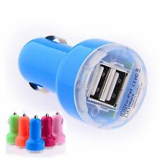 Blue Dual Port USB In Car Charger Adapter For Smartphones Tablets GPS MP3