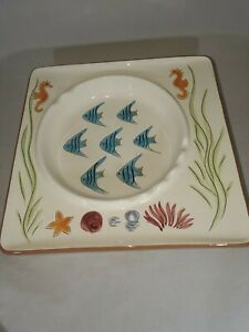 "Stangl Pottery 9"" Square Ashtray Caribbean  39150  Fish Seahorses Cigar Coastal"