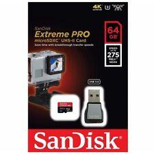 Sandisk Extreme Pro 64GB MicroSDXC UHS-II Action Cam Drone USB3.0 Reader 275MB/s