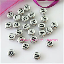 80Pcs Silver Acrylic Plastic Black Letters Spacer Beads Charms 7mm