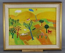 Vintage Signed Naive Folk Art Country Farm Farmland & Animals Oil Painting NR
