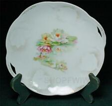 Vintage Bavarian German Transfer Ware Water Lilies Cake Plate