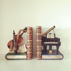 Musical Instruments Book Ends | Resin Musician Shelf Tidies