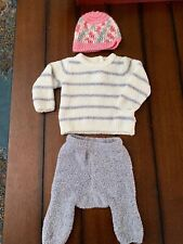 Baby Girl Size 3m Cuddl Duds Outfit Winter Hat Gray White Pink Soft Cuddly Snow