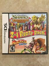 2 in 1 Party Pack : Shrek & Madagascar,( Nintendo DS , 2010 )Complete