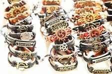 Wholesale 50 Bracelets PCS lots Mix Style Surfer Cuff Ethnic Tribal Leather