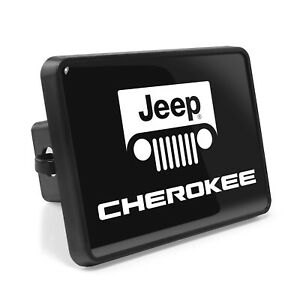 Jeep Cherokee UV Graphic Black Metal Plate on ABS Plastic 2 inch Tow Hitch Cover