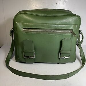 Vintage Green Airway Industries Travel Bag Luggage Carry On Shoulder Case 60s