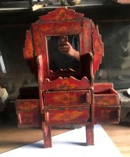 Antique Wooden Wall Fixing Hand Floral Painting Mirror Frame Dressing Mirror