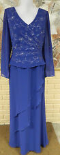 EUC GORGEOUS JADE BY JASMINE 2 PC. LOOK BLUE EMBELLISHED BEADED DRESS SZ 12 USA