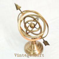 Antique Brass World Globe Armillary Arrow Ring Home Decorative