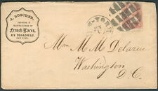 1860's New York fancy cancel ties 3¢ to Boscher French Laces advertising cover