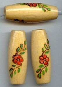 3 VINTAGE HAND CARVED PAINTED FLOWER 50x18mm. OVAL TUBE WOOD BEADS 293
