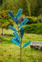 "Bottle Tree Metal Stake 62"" Holds 10 Bottles Outdoor Garden Decor"