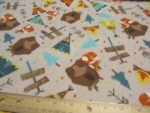 2 Yards Tan Riley Blake Forest Animal/bear/Fox/Tribal/Camping Flannel Fabric