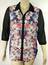 Autograph Black Multi Floral 3/4 Sleeve Button Shirt Top Tunic Plus Size 14 # M5