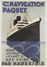 """""""Cie de NAVIGATION PAQUET / MARECHAL LYAUTEY""""Affiche entoilée Max PONTY 33x46cm"""