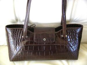 New Monsac Brown Leather Faux Croc Shoulder SM Satchel Bag