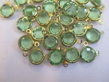 24 Swarovski Crystal Peridot Channels in 2-Ring Brass Settings - 9mm - Sparkle