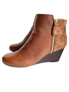 Isaac Mizrahi Live -Size 7 1/2 W - Wedge Ankle Boots- Leather / Suede