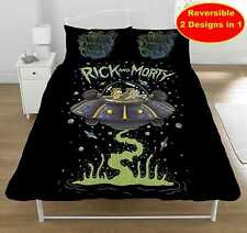 RICK AND MORTY DOUBLE DUVET QUILT COVER SET BOYS FANS KIDS CHILDRENS BED BEDROOM