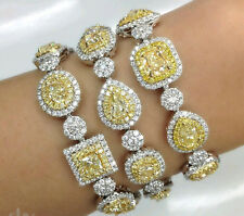 925 Sterling Silver Cz Yellow Asscher Pear Oval White Round Dashing Bracelet New