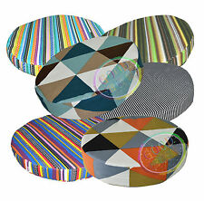 ak+6 Striped Pattern 3D Round Shape Cotton Canvas Seat Cushion Cover Custom Size
