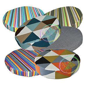 ak+6 Striped Pattern 3D Round Shape Cotton Canvas Seat Cushion Cover Custom Size